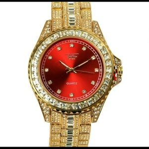 Other - Hiphop bling men's red face dial luxury watch